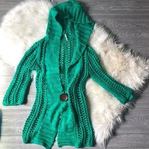 Free People Chunky Knit Sweater Cardigan Hoodie